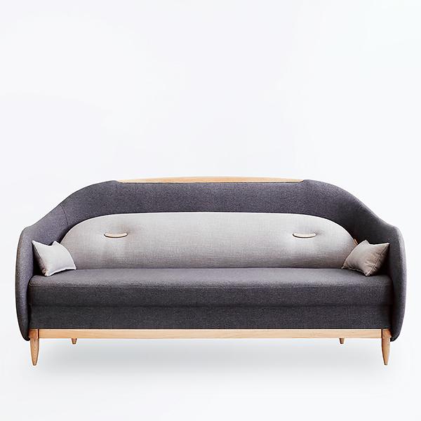 暖眠沙发床北欧三人布艺沙发橡木沙发床贵妃榻