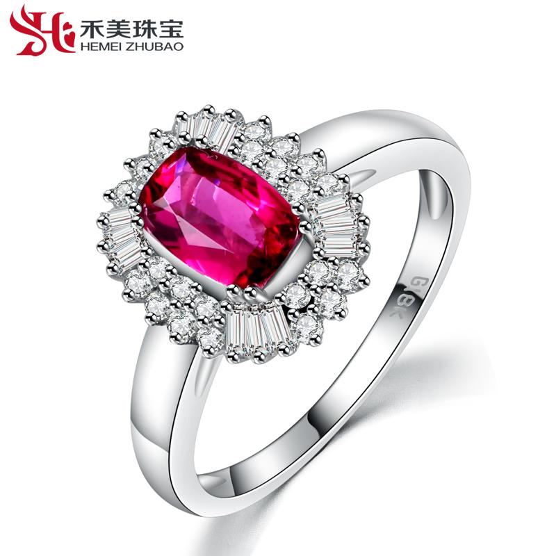 禾美珠宝鸽血红碧玺戒指 18k玫瑰金彩色宝石女款首饰彩宝宝石戒指