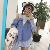 夏装女装韩版宽松露肩条纹衬衫显瘦假两件拼接长袖休闲衬衣上衣潮