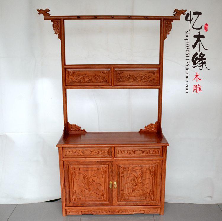 红木家具 花梨木中式仿古落地龙头衣帽架鞋架卧室 实木创意挂衣架