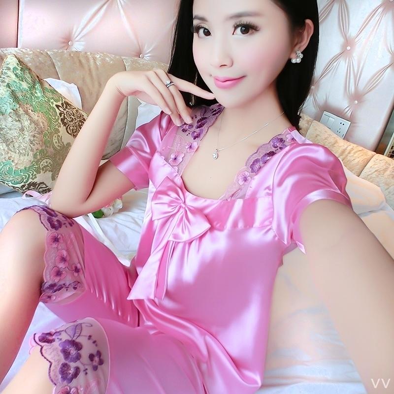 夏季女短裤性感套装内衣睡裙情侣家居服短袖薄款韩版真丝套头睡衣