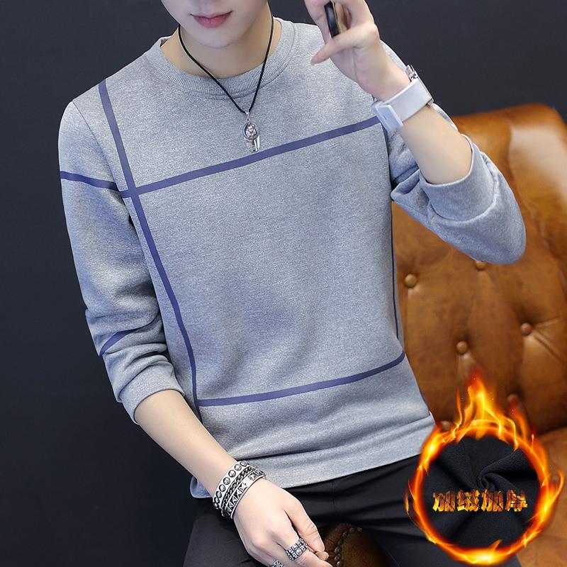 加绒加厚卫衣男圆领冬季保暖套头潮男韩版修身打底衫学生长袖T恤