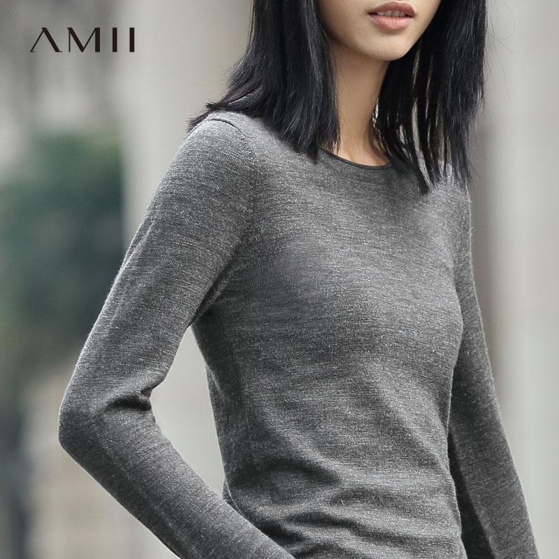Amii[极简主义]新款女装春装修身针织套头圆领打底针织衫毛衣