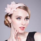 韩式头饰手工花朵发饰小礼帽婚纱头花发夹粉色雪纺布羽毛发箍配饰