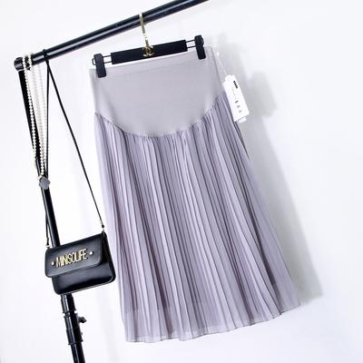 2017春夏季孕妇裙托腹宽松雪纺裙纯色孕妇中长款百褶外穿半身裙子