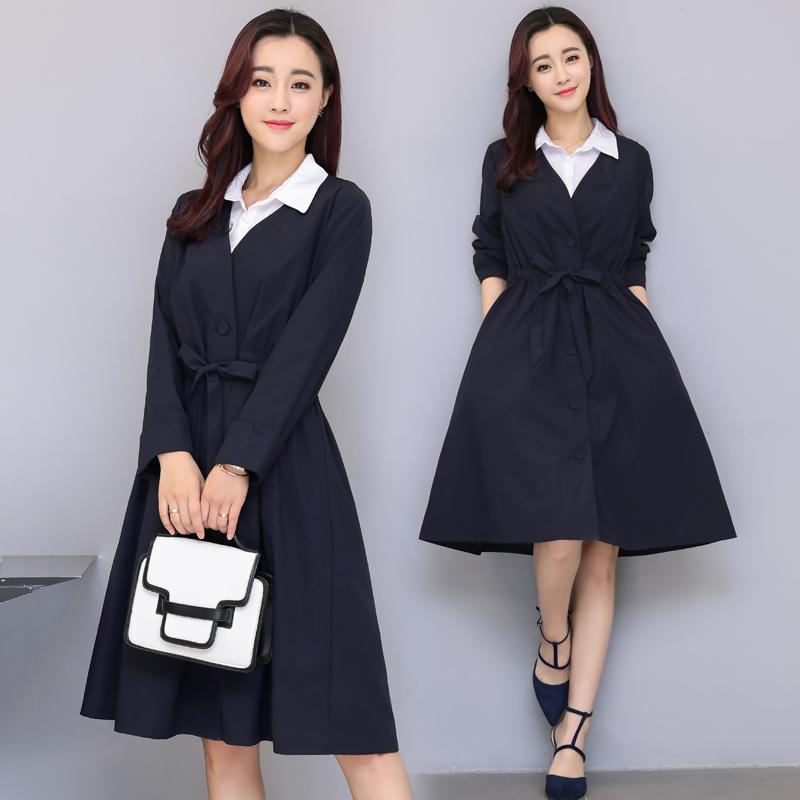 女装外套春装休闲风衣长款两件套衬衫春季