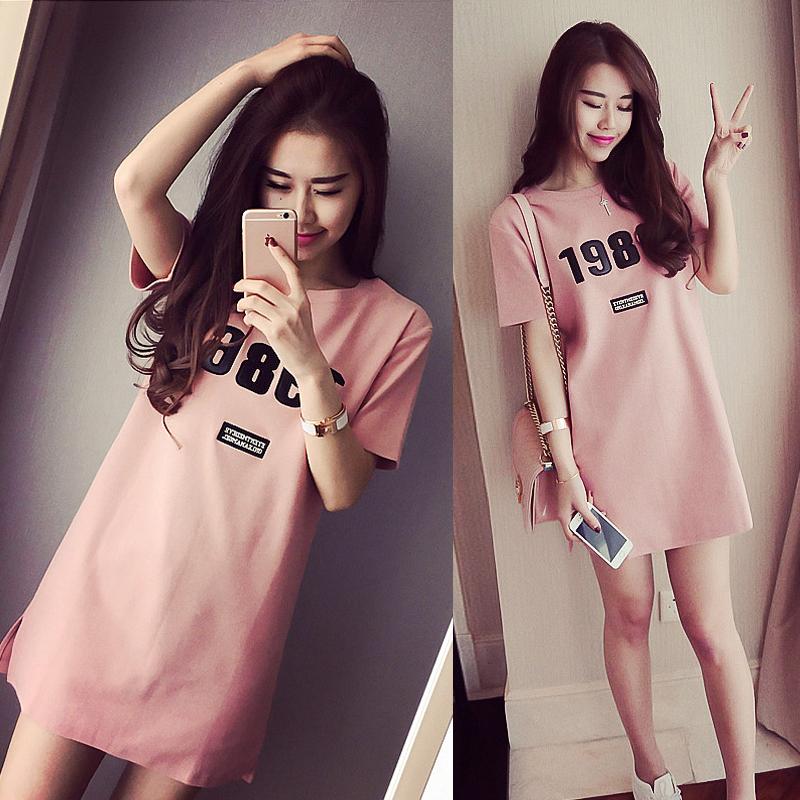 夏季2017韩国学生宽松短袖T恤裙子女中长款韩版小清新修身连衣裙