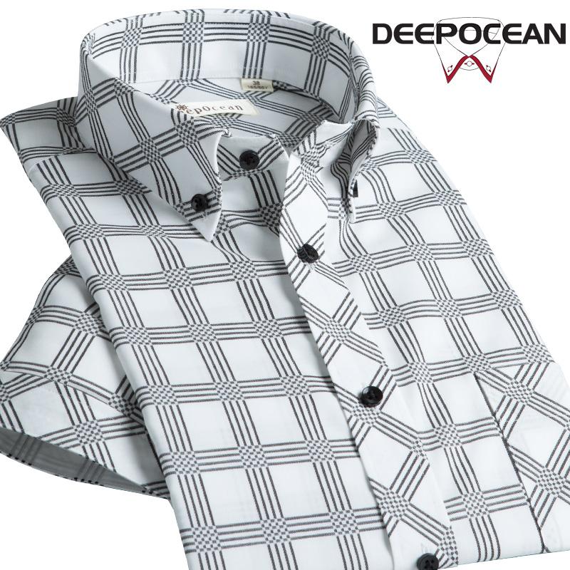 深海夏季大号衬衫男短袖格子衬衣男士格纹纯棉免烫休闲商务修身寸