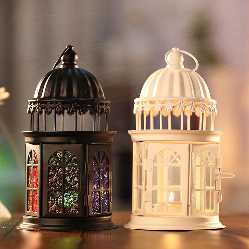 欧式家居复古铁艺防风风灯蜡烛烛台马灯七夕情人节