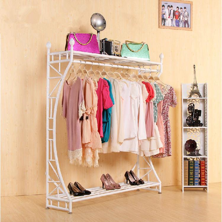 欧式衣帽架落地卧室挂衣架鞋柜组合美式铁艺置物架