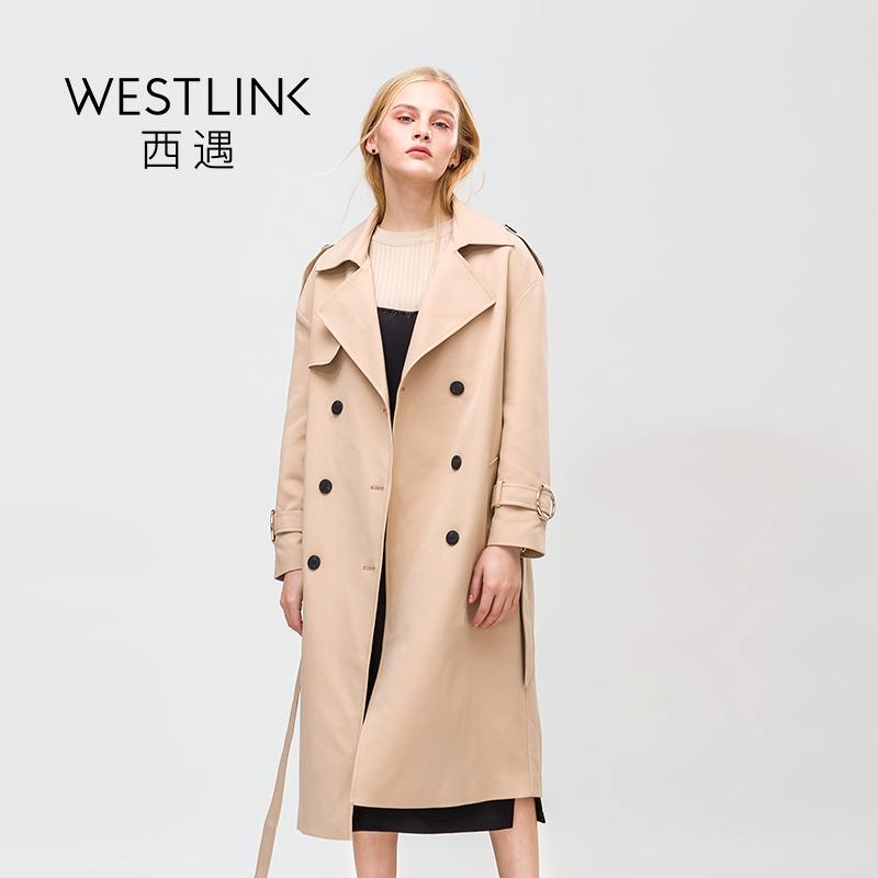 女式卡其色长款女士春季女中风衣女装外套
