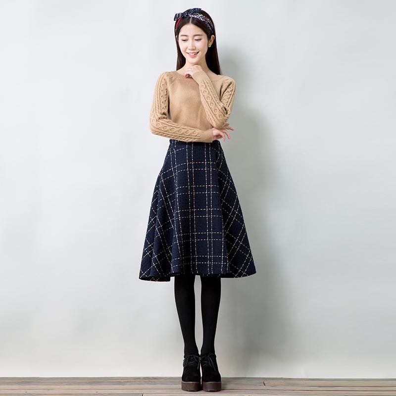 【预售】15天发货 金线穿织文艺复古毛呢格子裙半身裙中长裙