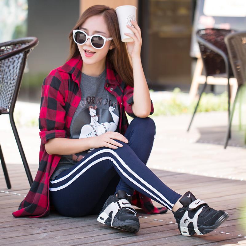 秋季外穿打底裤女士运动休闲小脚裤修身显瘦长裤竖条纹九分裤大码