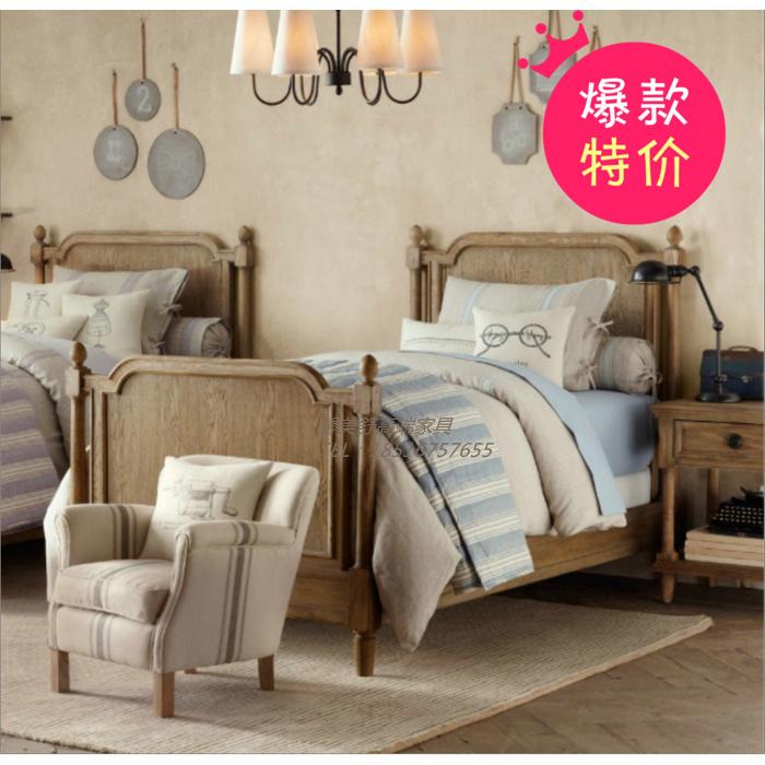 儿童床单人床法式男孩女孩床欧式原木卧室全实木床