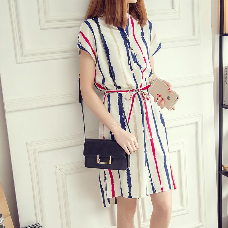 长款显瘦中衬衫连衣裙时尚条纹夏装女韩版宽松