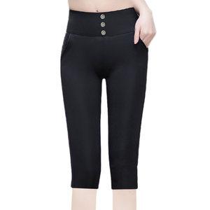 七分裤子女薄款高腰外穿紧身大码铅笔小