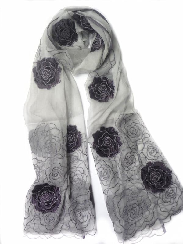 蚕丝刺绣花朵丝巾真丝欧根纱围巾披肩两用高档配饰送妈妈礼物女士