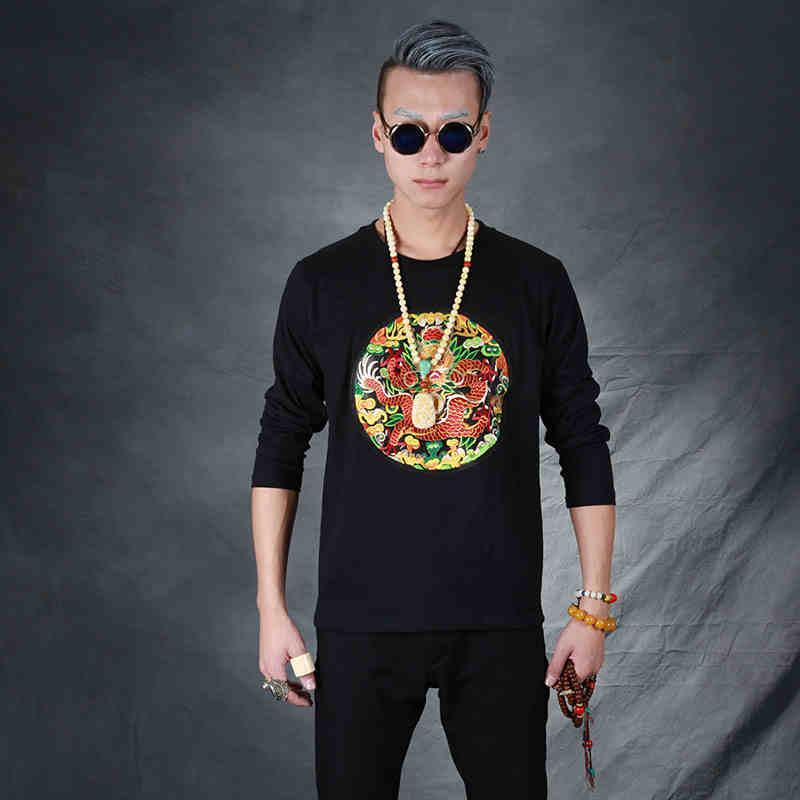 中国风男装盘扣复古刺绣龙补子龙袍中式唐装纽扣国风长袖T恤男秋