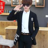 春季中长款风衣男青少年韩版潮流男装男士帅气外套大学生修身衣服