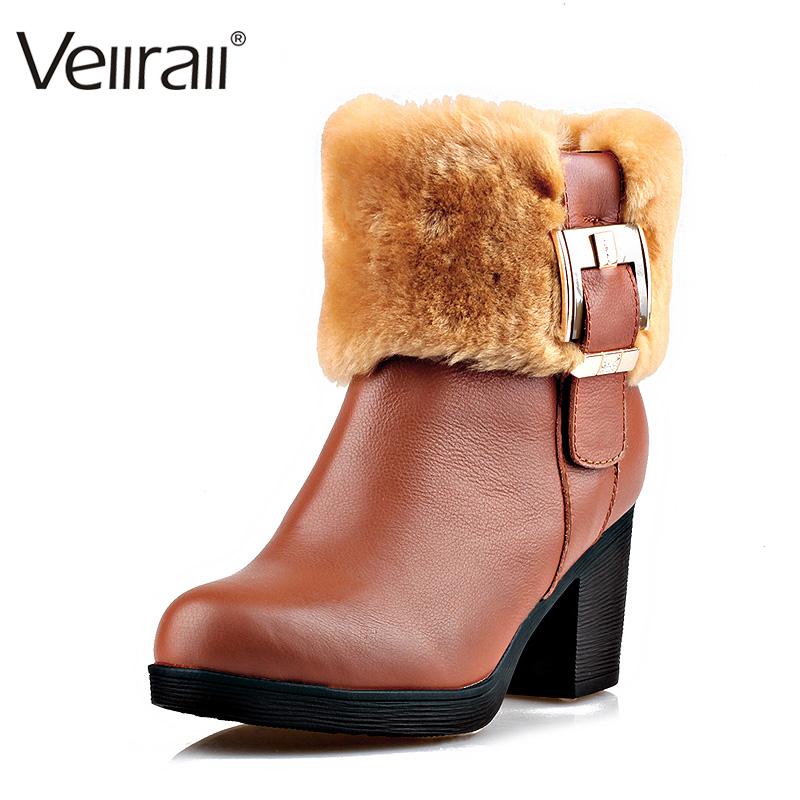 冬季保暖真皮女鞋加厚短款圆头粗跟时尚休闲雪地潮款马丁靴绒