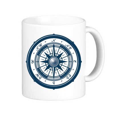 指南针海军蓝色海洋军事军队陶瓷白色马克杯咖啡杯牛奶杯水杯