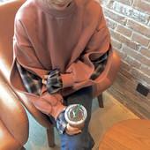 韩国秋冬原宿风宽松bf拼接格子破洞套头加绒假两件卫衣女学生上衣
