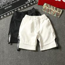 夏季潮牌街头嘻哈街舞滑板bboy编织带休闲运动纯色短裤潮男五分裤