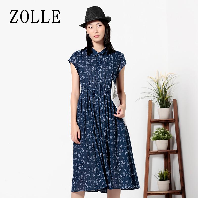 ZOLLE因为2017夏季新品短袖碎花高腰显瘦中长款棉麻衬衫连衣裙女