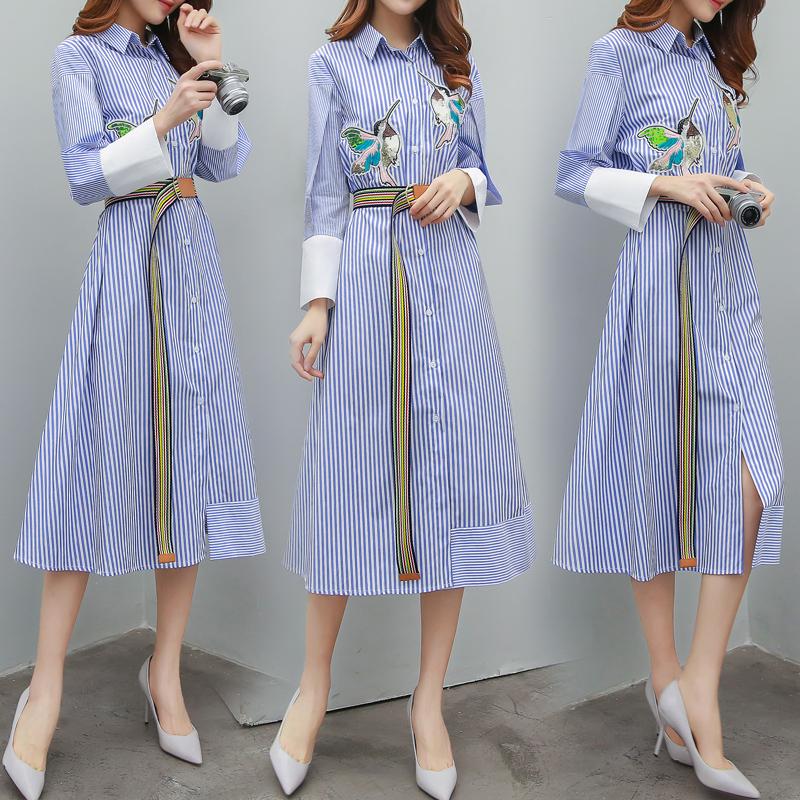 長裙時尚修身連衣裙女裝刺繡條紋裙子襯衫夏季長袖