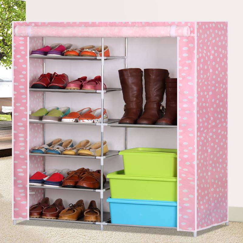 简易组合鞋柜组装鞋架布艺柜子鞋子收纳储藏柜双排布