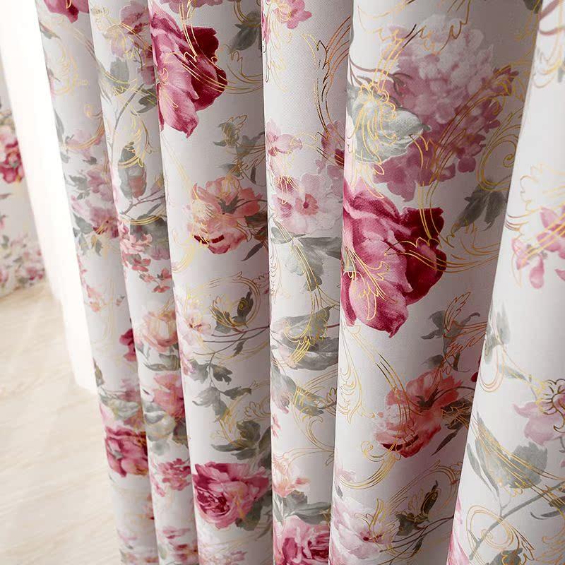 安心家纺窗帘窗纱欧式烫金成品加厚客厅卧室全遮光窗帘布定制特价