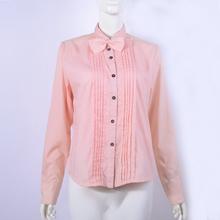 出口日本外贸原单纯棉百搭长袖纯色条纹通勤衬衫衬衣女 特价处理