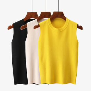 吊带背心女夏季针织冰丝短款低圆领修身纯色上衣打底衫无袖t恤薄