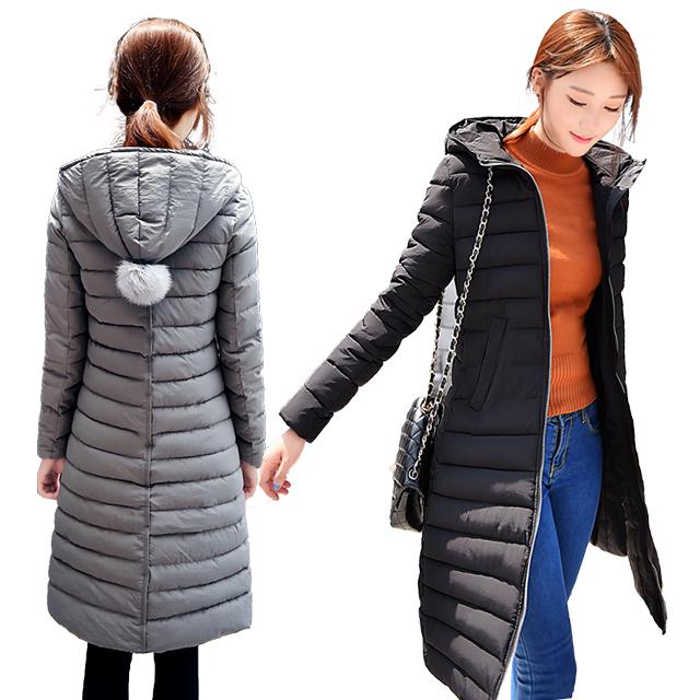 棉袄大衣棉衣外套学生 冬季修身棉服女长款过膝羽绒
