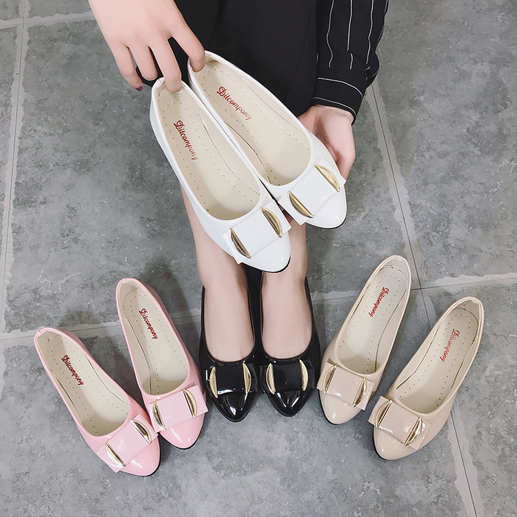 女鞋鞋女春夏百搭淺口單鞋女韓版豆豆學生工作平底