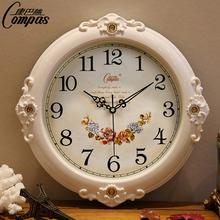 康巴丝静音挂钟现代客厅时钟欧式田园挂表个性时尚钟表创意石英钟