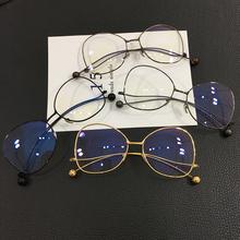 杨幂宋茜同款金属圆球平光镜男女 装饰眼镜框架瘦脸大框近视镜潮
