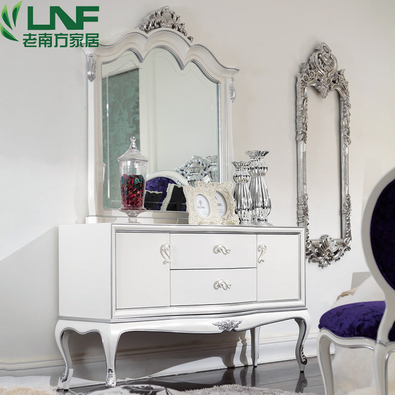 新古典小型宜家梳妆台实木欧式田园现代简约化妆镜柜