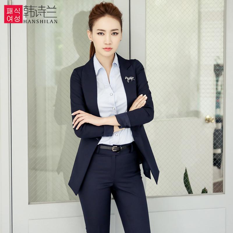 韩诗兰职业装女装套装秋冬三件套面试正装修身气质西装工作服长袖