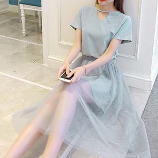 2017夏季新款韩版网纱假两件a字中长款连衣裙女 短袖显瘦裙子学生
