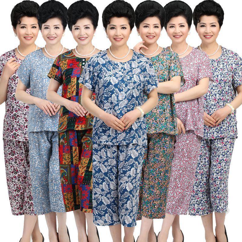 天天特价中老年女装夏装套装妈妈装全棉绸短袖老人衣服女奶奶装