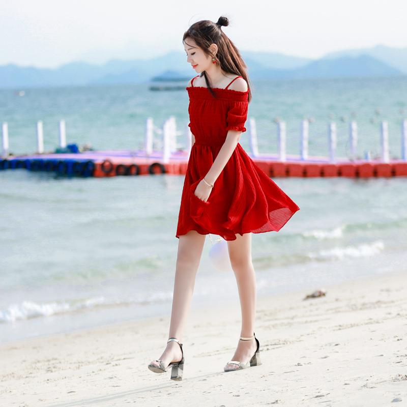 2017夏季新款韩版修身收腰连衣裙女士吊带裙子露肩一字领红色短裙
