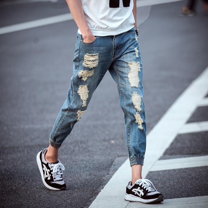 牛仔褲乞丐分束腳褲男小腳夏季收口破洞九分褲收腿褲修身