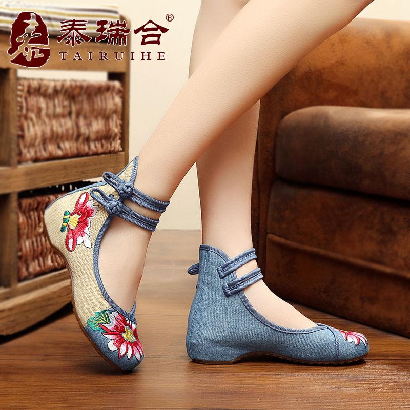 绣花鞋泰瑞合春民族老北京复古坡跟牛筋布鞋女鞋