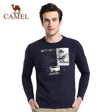 圆领印花日常休闲青年长袖 秋季新款 T恤衫 时尚 骆驼男款
