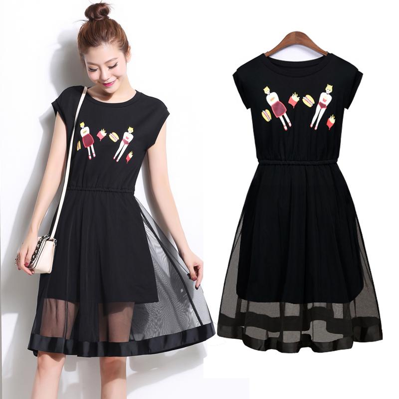 裙子夏季连衣裙无袖拼接黑色长款修身