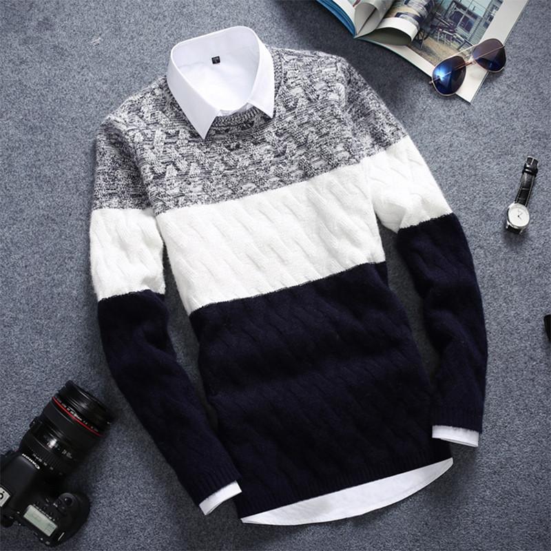 冬天长袖针织T恤青少年韩版修身男装毛衣体恤学生加厚衣服外套潮