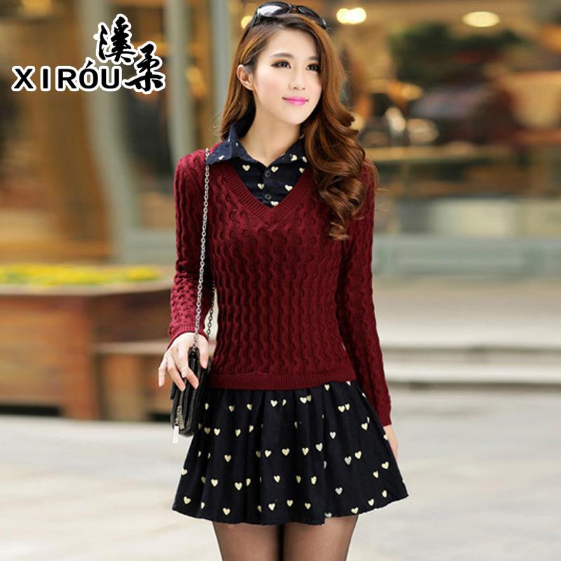 2015秋冬季新款韩版女装 修身圆领长袖毛衣 套头针织假两件连衣裙