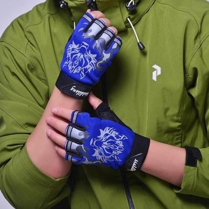 男女情侣骑行开车半指手套春夏薄款户外运动登山健身防滑短指手套