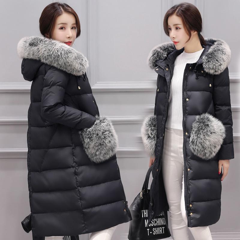 韩国女装过膝女士外套修身妮新反季毛领大码清仓长款羽绒服